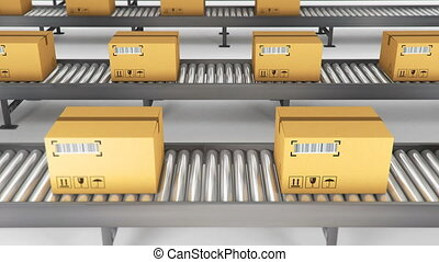 Boxes on conveyor roller. 3D Rendering animation - Boxes on...