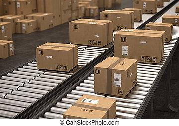 Boxes on conveyor roller. 3D Rendering - Closed cardboard ...