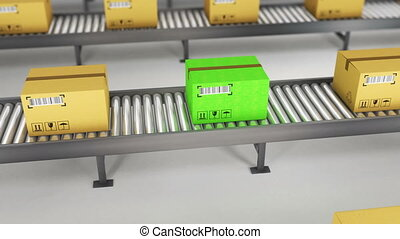 Boxes on conveyor roller. 3D Rendering for use in...