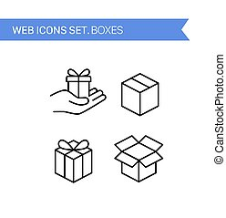 Boxes. Thin line icons vector set