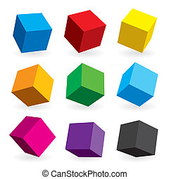 Boxes - Vector illustration of different position style ...