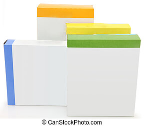 Boxes with blank labels - Stack of food boxes with blank...