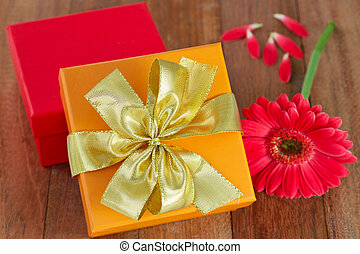 boxes with flower on the table
