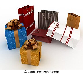Boxes with gold bow and bags for gifts on white background