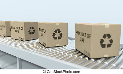 Boxes with PRODUCT OF UAE text on roller conveyor. United Arab Emirates import or export related 3D rendering