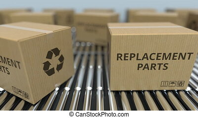 Boxes with replacement parts on roller conveyors. Loopable...