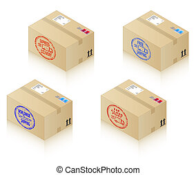 Boxes with shipping stamps