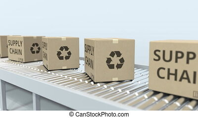 Boxes with SUPPLY CHAIN text on roller conveyor. Loopable 3D...