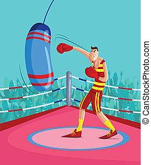 boxeur, coup de pied