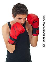 boxeur, défendre, homme
