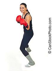 boxeur, femme, formation, heureux