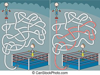 boxeur, labyrinthe