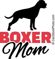 boxeur, silhouette, chien, maman