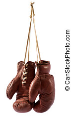 boxhandschuhe, hängender , gegen, weißer hintergrund