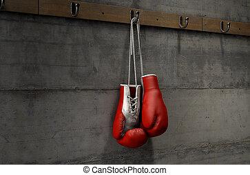 boxhandschuhe, hängender , in, ändern zimmer
