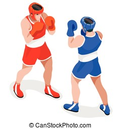 Boxing 2016 Sports 3D Isometric Vector Illustration