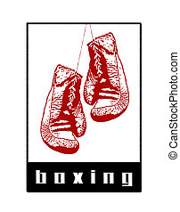 Boxing Abstract - Hanging boxing gloves illustration with...