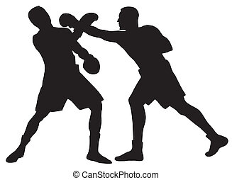 Boxing - Abstract vector illustration of boxing men ...