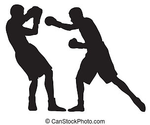 Abstract vector illustration of boxing men silhouettes