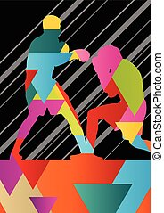 Boxing active young men box sport silhouettes abstract background