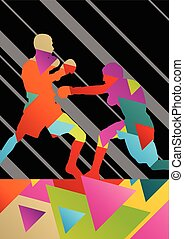 Boxing active young men box sport silhouettes vector abstract background