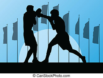 Boxing active young men box sport silhouettes vector abstract background illustration landscape with flags for poster
