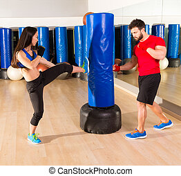 Boxing aerobox couple training at ftness gym