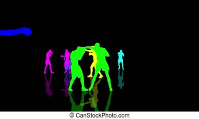 Boxing and kickboxing people colorful silhouettes moving towards the camera. Seamlessly loopable animation.