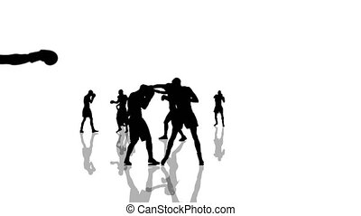 Boxing and kickboxing people silhouettes moving towards the camera. Seamlessly loopable animation.