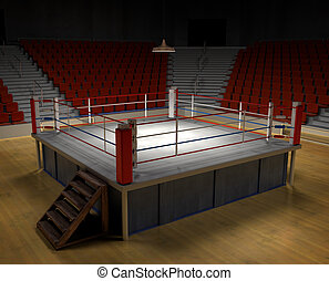 Boxing Arena - A 3d generated professional boxing ring front...