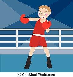 boxing athletic sport vector cartoon illustration set