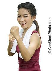 boxing, aziatisch meisje