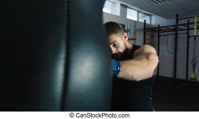 boxing., barbu, boxe, homme, workout:
