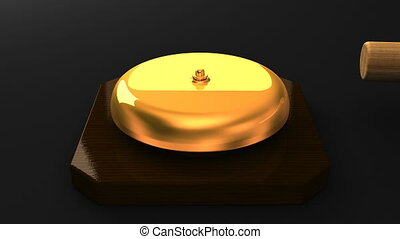 Boxing bell on black background. 3DCG render animation.