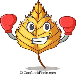 Boxing birch leaf in the mascot shape vector illustration