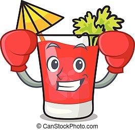 Boxing bloody mary character cartoon vector illustration