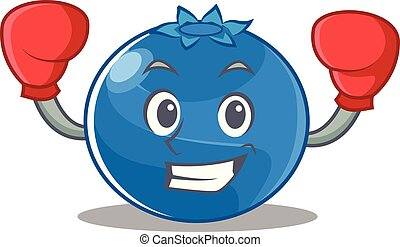 Boxing blueberry character cartoon style