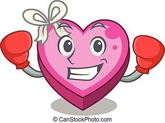 Boxing box heart in shape of mascot