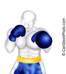Boxing : Boxer Standing in Ring Ready for Fighting A Boxing...