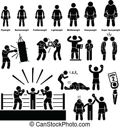 Boxing Boxer Stick Figure Pictogram - A set of pictogram...