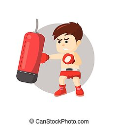 Boxing boy punching sand sack