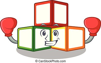 Boxing bright toy block bricks on cartoon