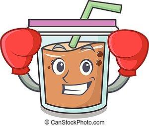 Boxing bubble tea character cartoon