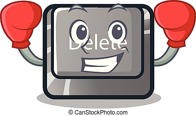 Boxing button delete isolated with the character vector illustration
