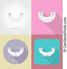 boxing cap flat icons vector illustration