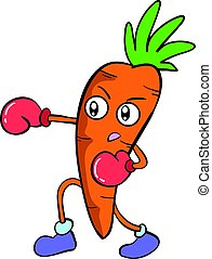 boxing carrot character vector art collection stock