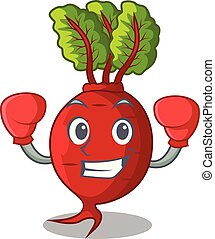 Boxing cartoon fresh harvested beetroots in wooden crate