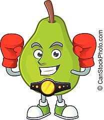Boxing cartoon guava mascot on white background