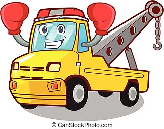 Boxing Cartoon tow truck isolated on rope