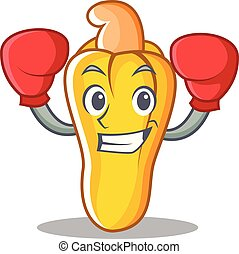 Boxing cashew character cartoon style vector illustration
